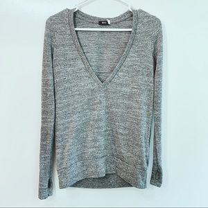 BDG Heather Gray V Neck Athletic Shirt Long Sleeve